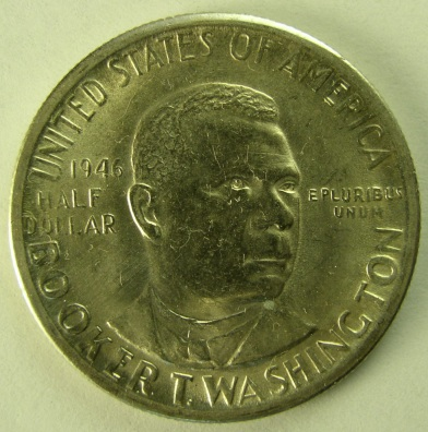 click for larger picture of 1946 D Booker T. Washington Commemerative Half Dollar
