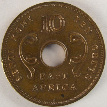 click for larger picture of 1964 East Africa Ten Cents