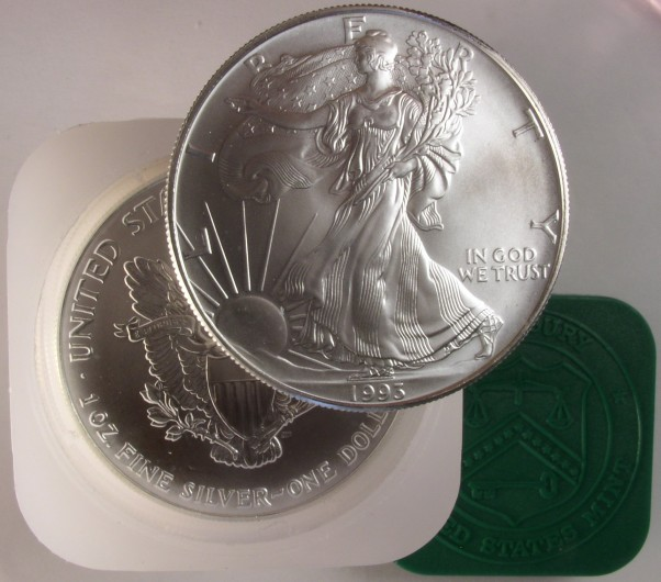 click for larger picture of 1993 American Silver Eagle Roll Uncirculated
