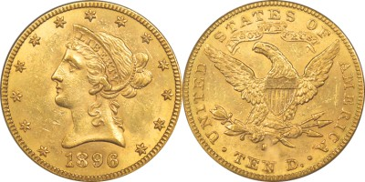 click for larger picture of 1896 S $10 Coronet Gold Eagle