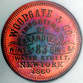 click for larger picture of 1860 Woodgate and Co., Wines Token Toned