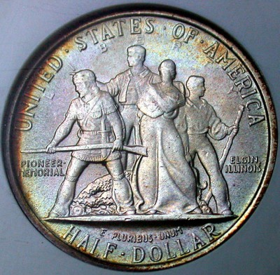 click for larger picture of 1936 Elgin, Illinois Centennial Commemorative Half Dollar