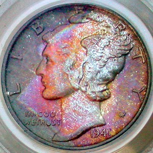 click for larger picture of 1941 S Mercury Dime Toned