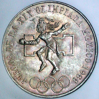 click for larger picture of 1968 Mexico Summer Olympics 25 Pesos - Type 1 Center Ring High