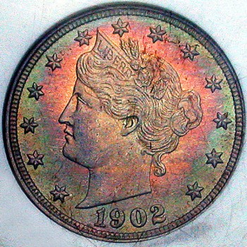 click for larger picture of 1902 Liberty Head Nickel Toned (V Nickel)