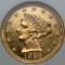 1899 Coronet Head Gold Quarter Eagle Proof $2.50 cleaned