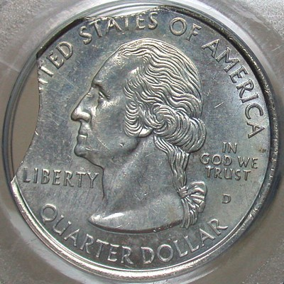 click for larger picture of 1999 D New Jersey State Quarter Dollar error Double clipped