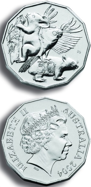 click for larger picture of 2004 Australian 50 Cents Uncirculated 12-Sided (Primary School Student Coin Design)