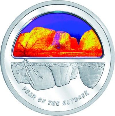 click for larger picture of 2002 Australian 5 Dollar Silver Proof Hologram - Year of the Outback Finale