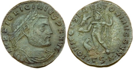 click for larger picture of 312-313 AD Licinius I Follis TS A