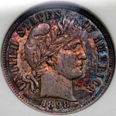click for larger picture of 1898 Barber Dime