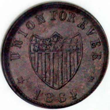 click for larger picture of 1864 Union Forever Civil War Token