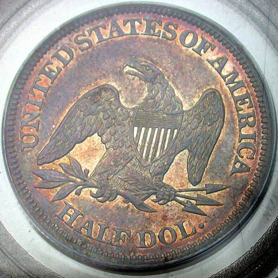 click for larger picture of 1858 Liberty Seated Half Dollar