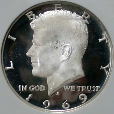 click for larger picture of 1969 S Kennedy Half Dollar Ultra Cameo Proof