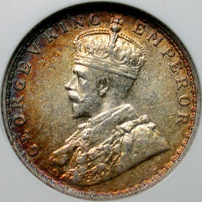 click for larger picture of 1936 India 1/4 Rupee (Bombay)