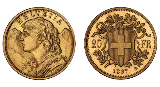 1897 B Swiss Gold 20 Francs Type 2 Probe
