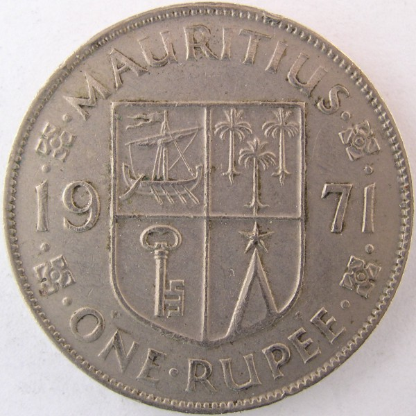 click for larger picture of 1971 Mauritius Rupee