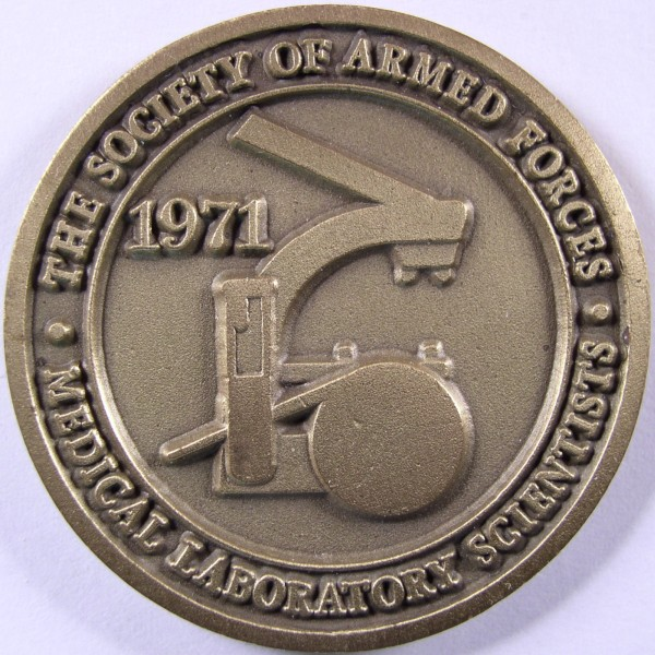 click for larger picture of 1971 The Society of Armed Forces Medical Laboratory Scientists Challenge Coin
