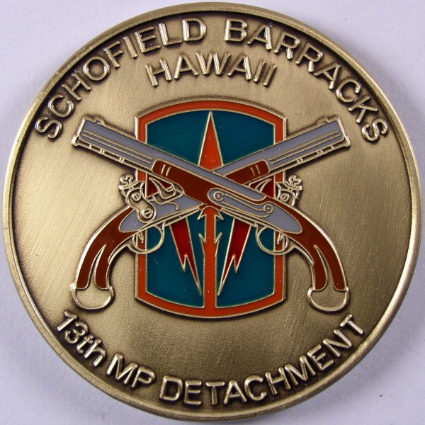 click for larger picture of Schofield Barracks, Hawaii 13th Military Police Detachment Challenge Coin