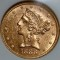1886 S $5 Gold Liberty Half Eagle