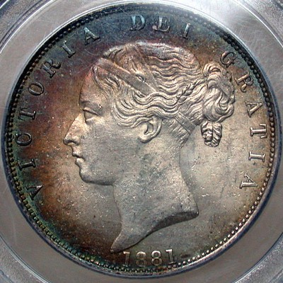 click for larger picture of 1881 Great Britain Half Crown