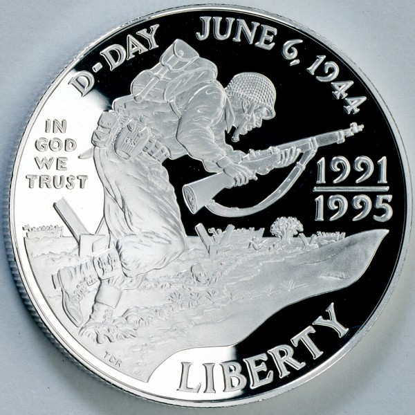 click for larger picture of (1993) 1991-1995 W  World War II Commemorative Silver Dollar Proof