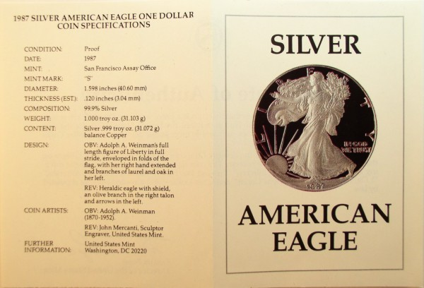 click for larger picture of 1987 S American Silver Eagle Proof