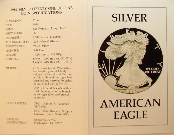 click for larger picture of 1986 S American Silver Eagle Proof
