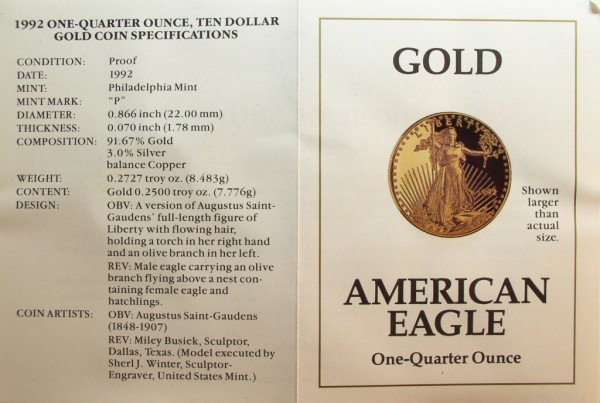click for larger picture of 1992 P One-Quarter Ounce American Gold Eagle Proof $10