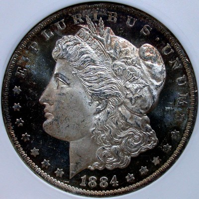 click for larger picture of 1884 O Morgan Dollar DMPL