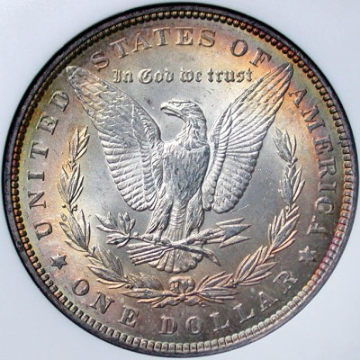click for larger picture of 1889 Morgan Dollar Toned