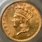 1861 Gold Dollar Indian Head, Large Head, Type 3