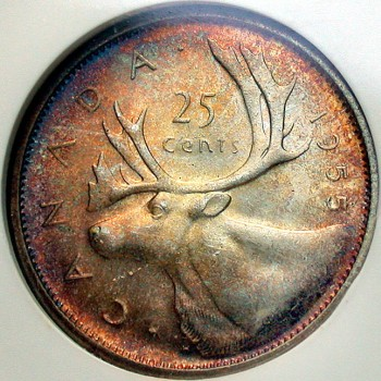click for larger picture of 1955 Canada 25 Cents