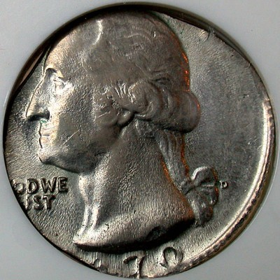 click for larger picture of 1970 D Washington Quarter on a dime planchet Error