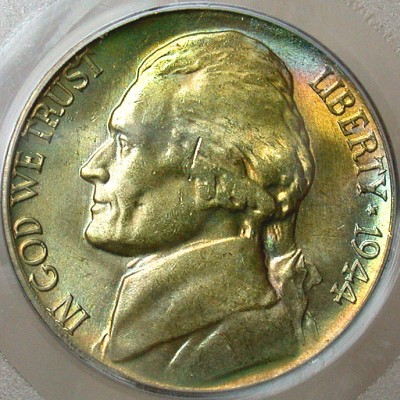 click for larger picture of 1944 S Jefferson Nickel