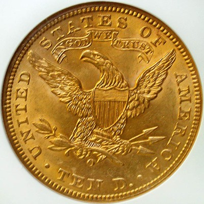 click for larger picture of 1901 O $10 Coronet Gold Eagle