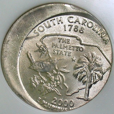 click for larger picture of 2000 P South Carolina State Quarter 25% Off Center Error