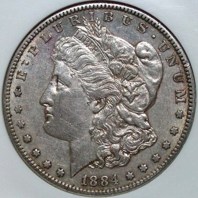 click for larger picture of 1884 S Morgan Dollar
