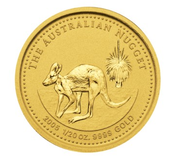 click for larger picture of 2005 Australian Nugget Gold 1/20 ounce 5 Dollars