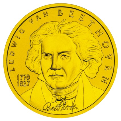 click for larger picture of 2005 Austria Gold 50 Euro Ludwig van Beethoven