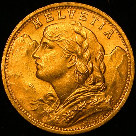 click for larger picture of 1935 B  Swiss Gold 20 Francs