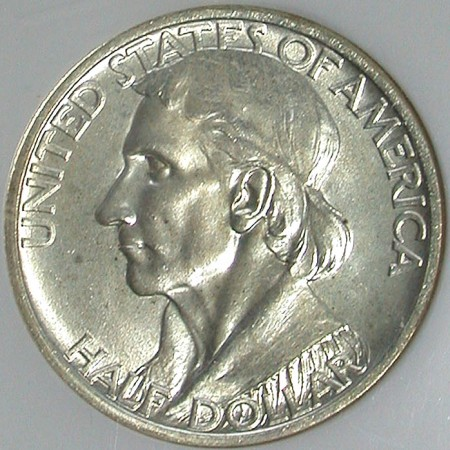 click for larger picture of 1935 Daniel Boone Bicentennial Commemorative Half Dollar  Type 2 - 1934 on Reverse