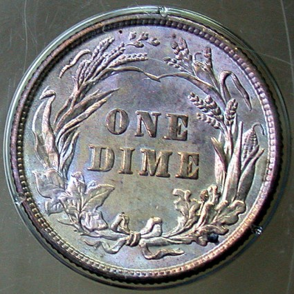 click for larger picture of 1900 Barber Dime