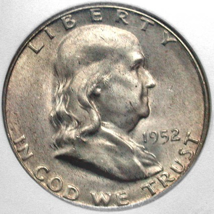 click for larger picture of 1952 S Franklin Half Dollar