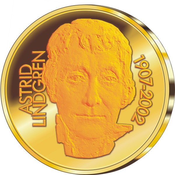 click for larger picture of 2002 Sweden Gold 50 Kronor 95th  Anniversary of birth of Astrid Lindgren