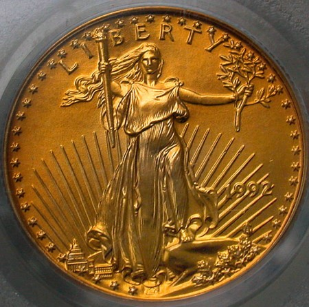 click for larger picture of 1992 One-Quarter Ounce American Gold Eagle Uncirculated $10