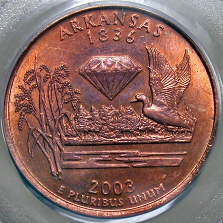 Coin Page: 2003 P Arkansas State Quarter Dollar Reverse Clad