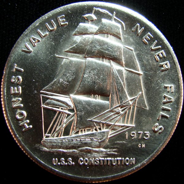 click for larger picture of 1973 Constitution Mint 1 oz silver round - USS Constitution