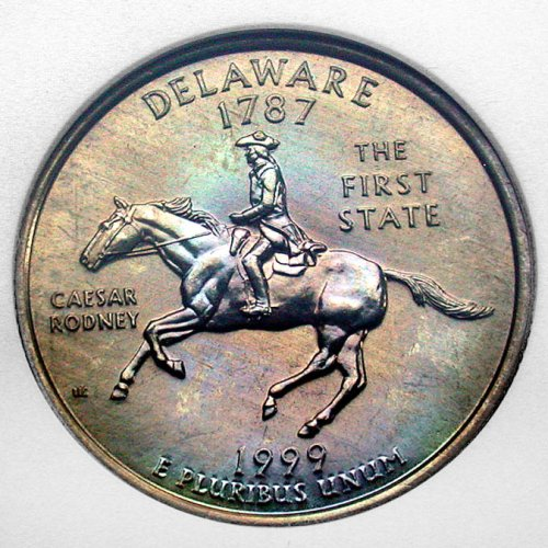 click for larger picture of 1999 D Delaware State Quarter Dollar PL