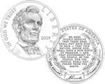 2009 Abraham Lincoln Commemorative Silver Dollar (line art design)